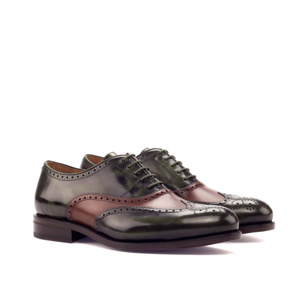Full Brogue Goodyear Welted - Polished Calf Green-Polished Calf Med Brown